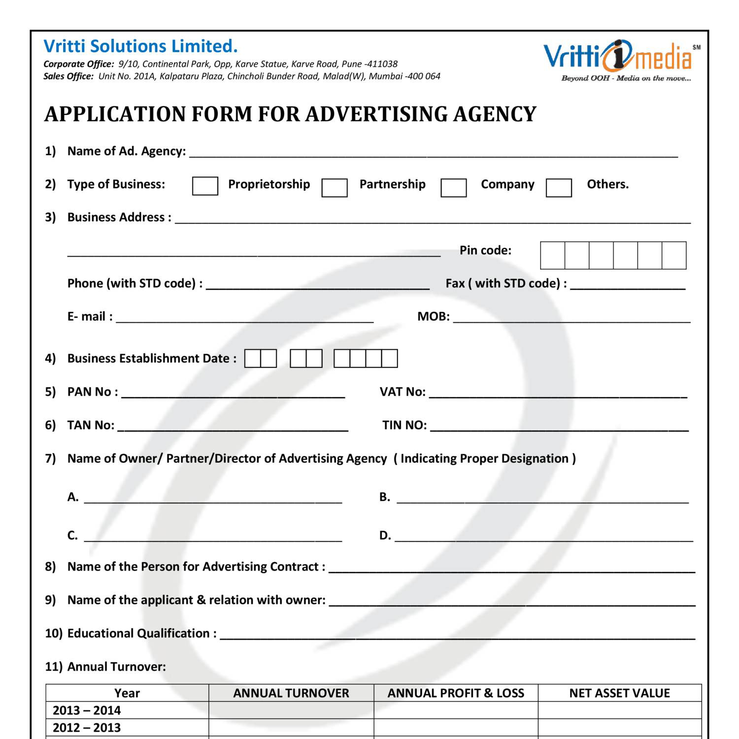 APPLICATION FORM FOR ADVERTISING AGENCY _ ver 05 _ 09th jan 2016 ...
