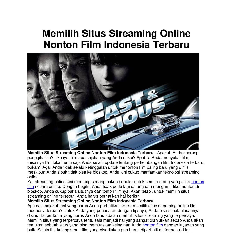 Memilih Situs Streaming Online Nonton Film Indonesia
