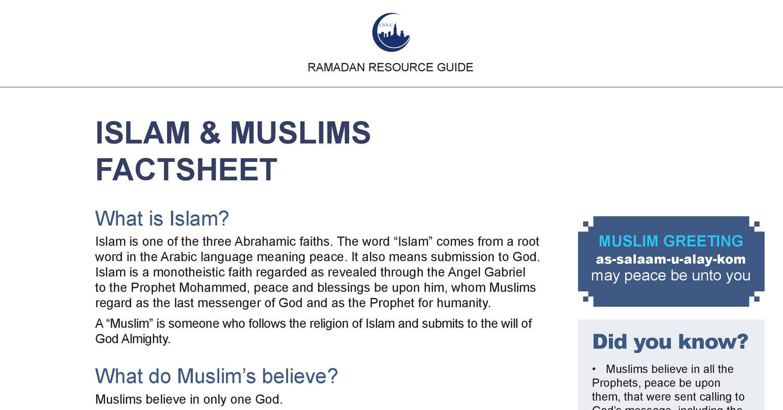 Islam And Muslims Factsheetpdf Docdroid