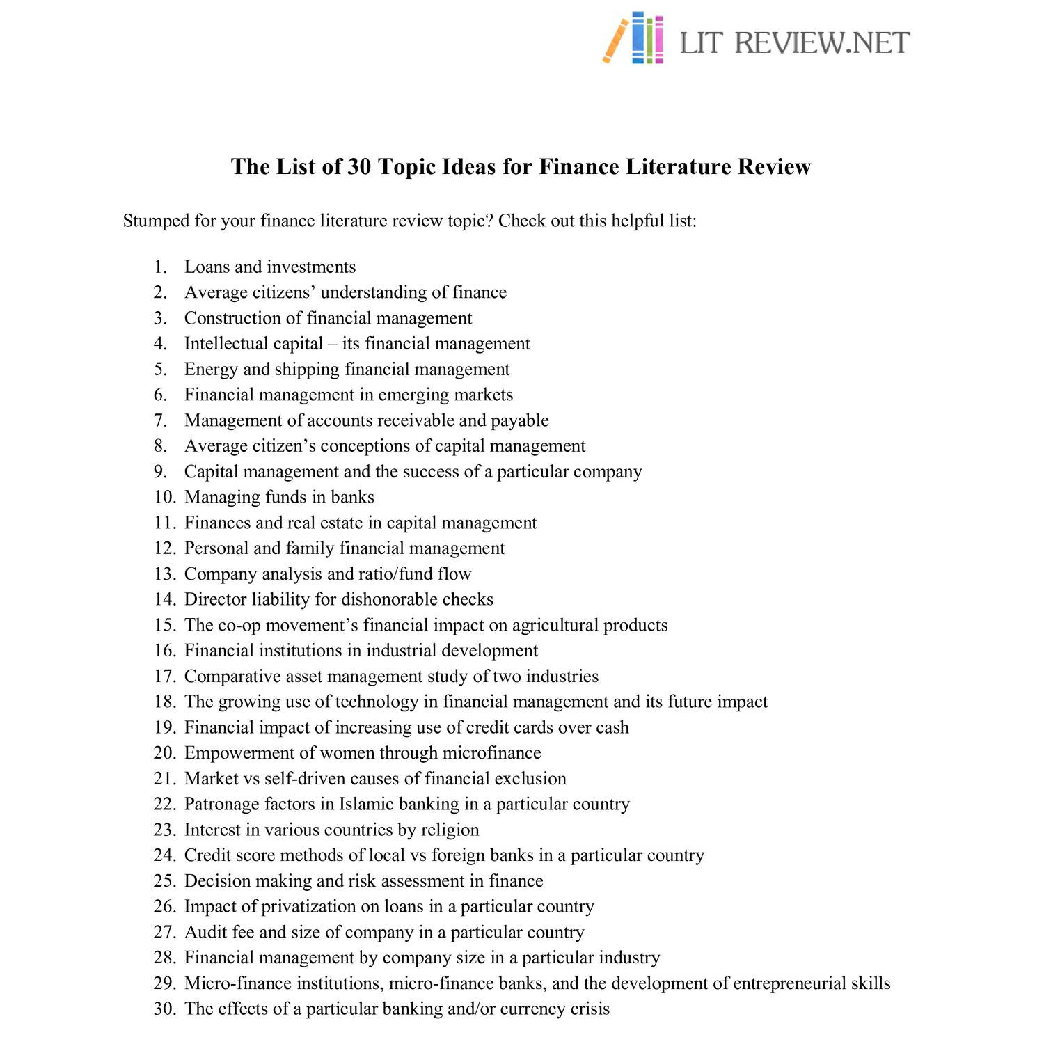 Finance Review: The List Of 30 Topic Ideas For Finance Literature Review