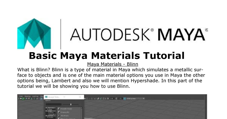 Autodesk Maya Tutorial Pdf