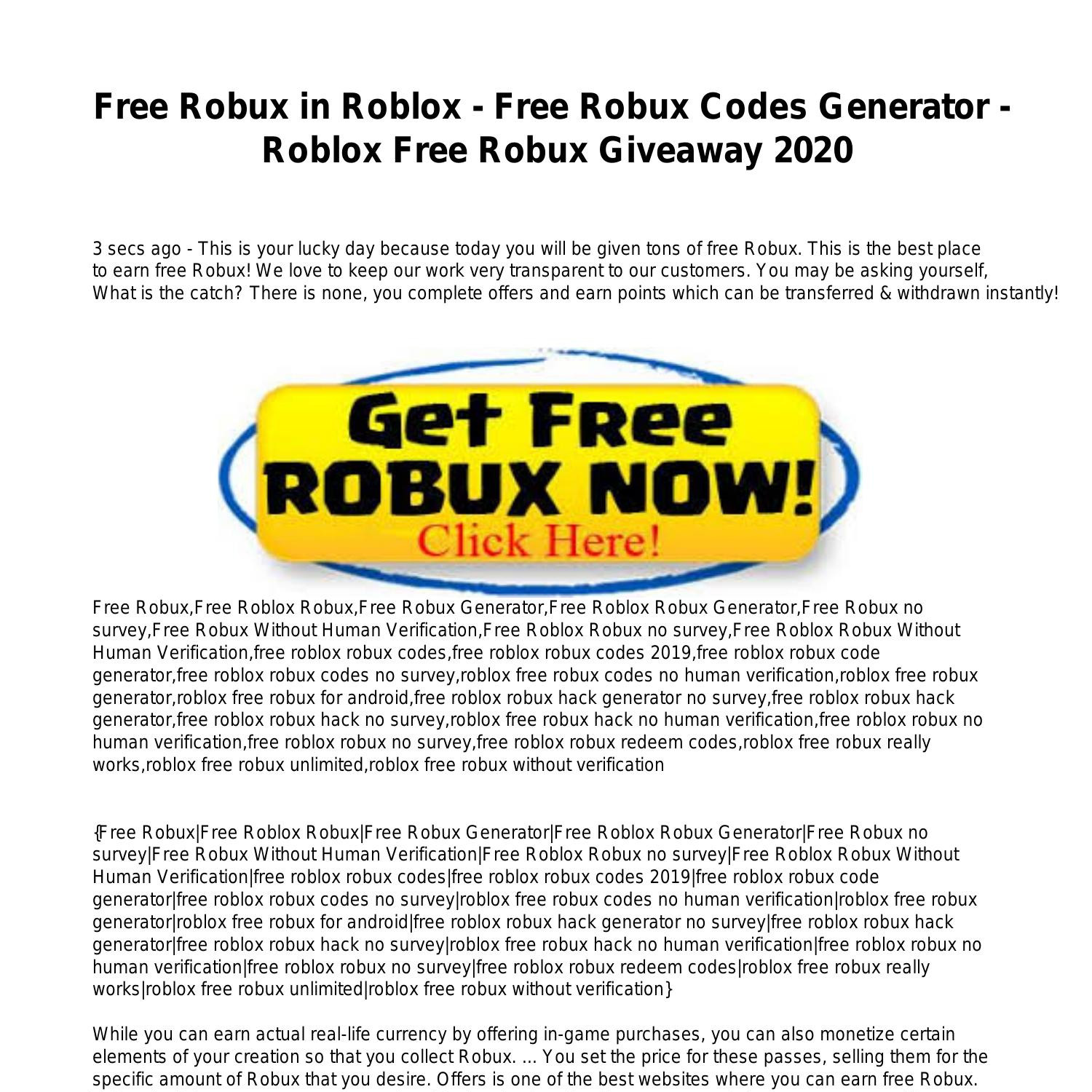 Free Robux In Roblox Free Robux Codes Generator Roblox Free