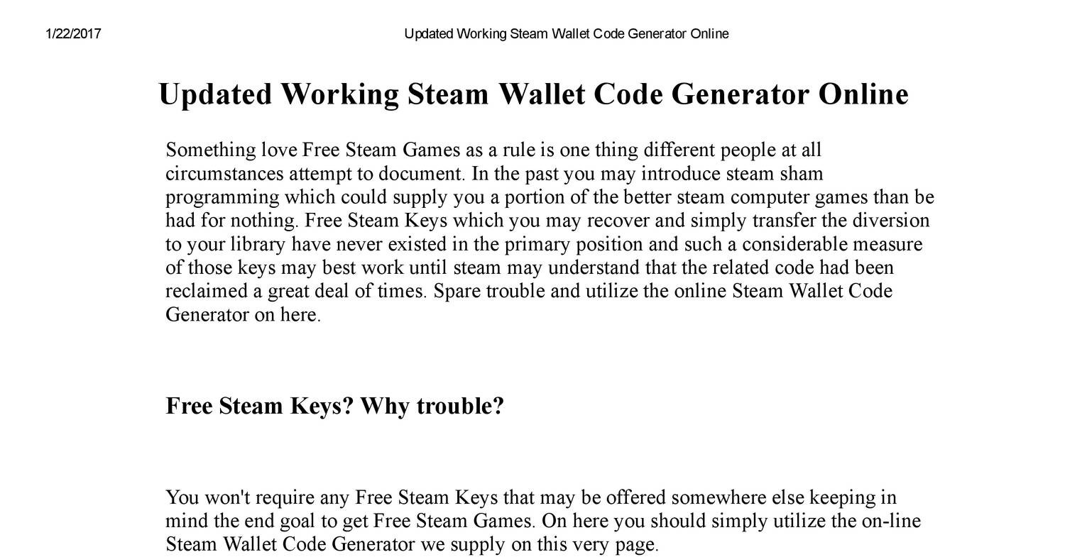 Updated Working Steam Wallet Code Generator Onlinepdf Docdroid 1