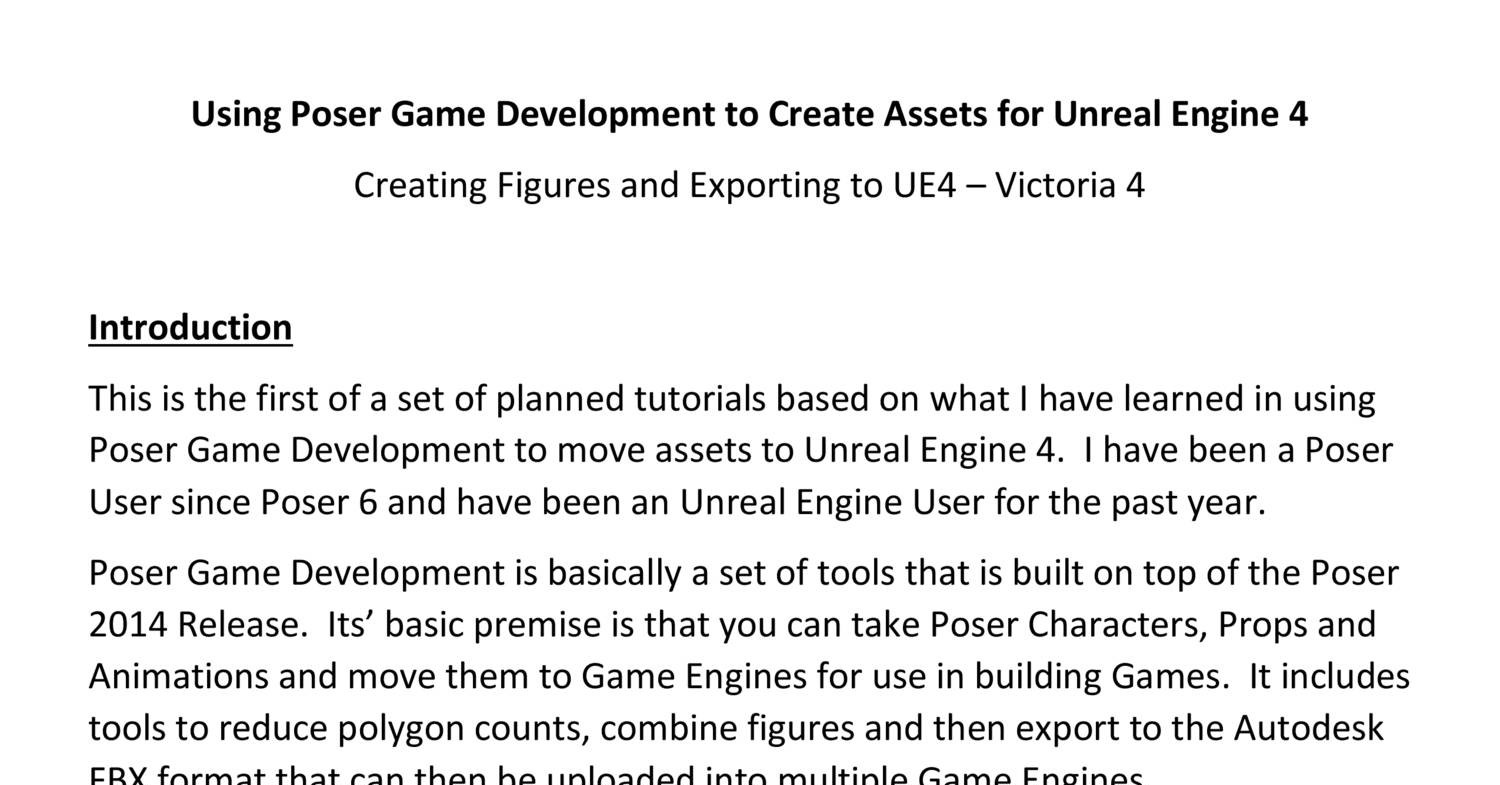 Using Poser Game Development to Create Assets for Unreal Engine 4
