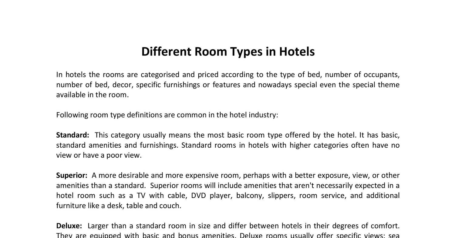 Different Hotel Room Types pdf | DocDroid