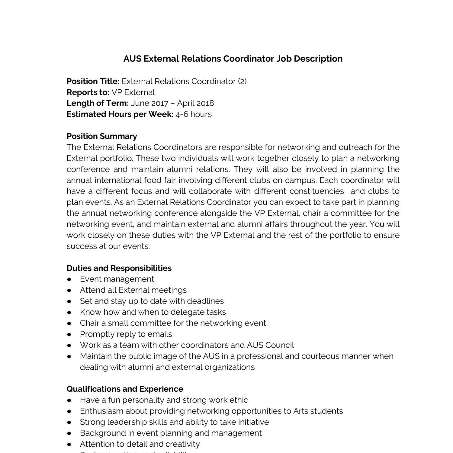 aus external relations coordinator job descriptiondocx docdroid event planner job description