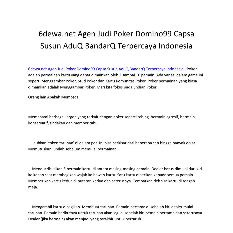 6dewa Net Agen Judi Poker Domino99 Capsa Susun Aduq Bandarq Terpercaya Indonesia Pdf Docdroid