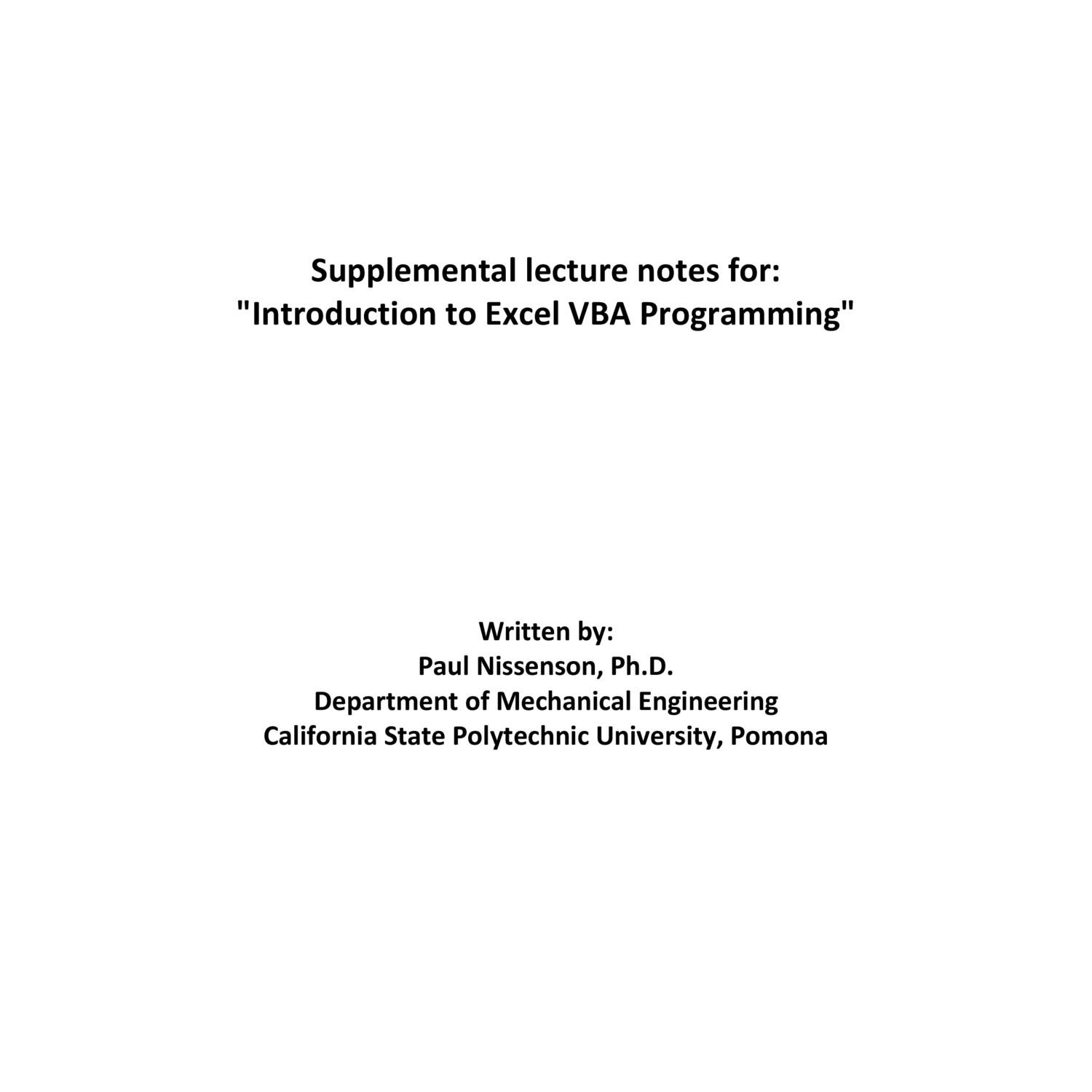 Lecture Notes - Introduction to Excel VBA Programming pdf | DocDroid
