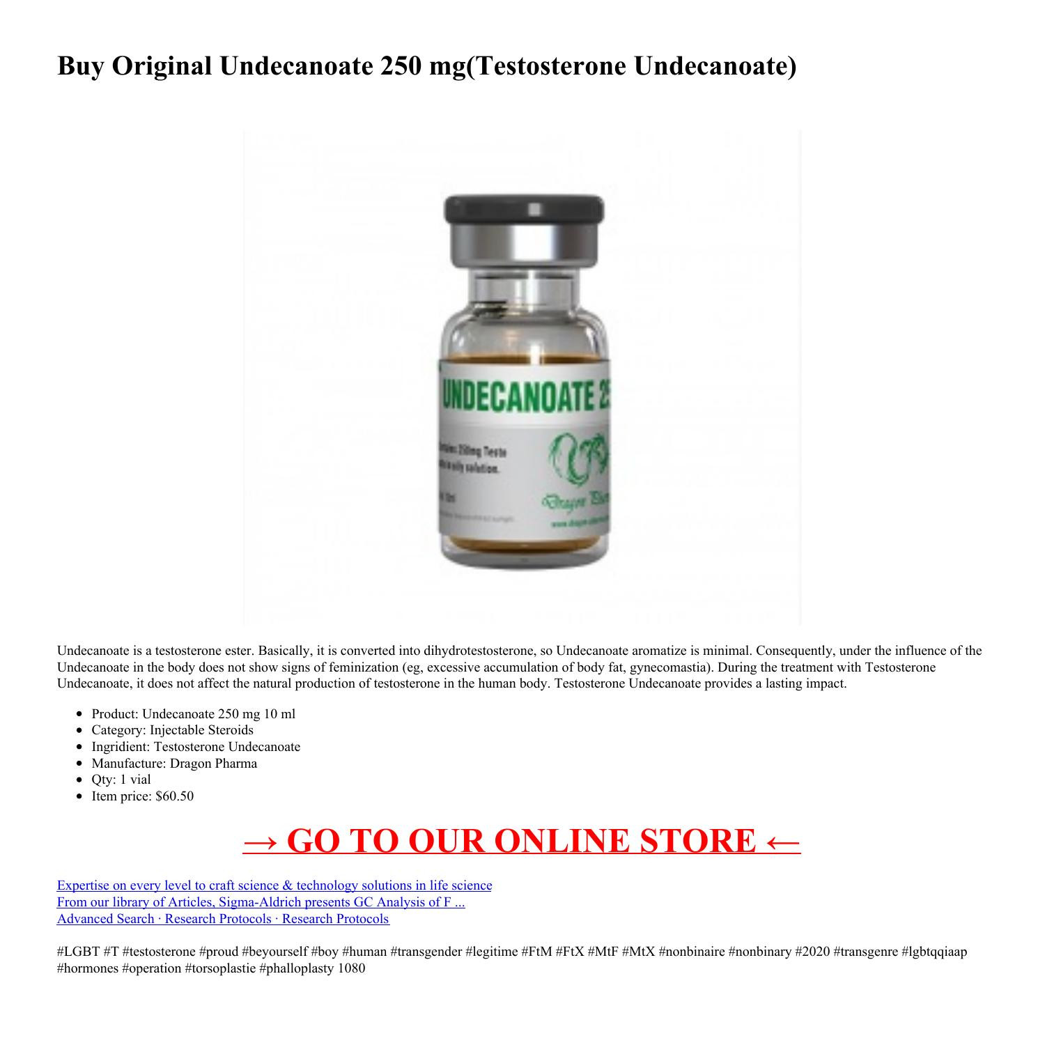 Buy Original Undecanoate 250 mg(Testosterone Undecanoate) by Dragon Pharma in USA - Injectable