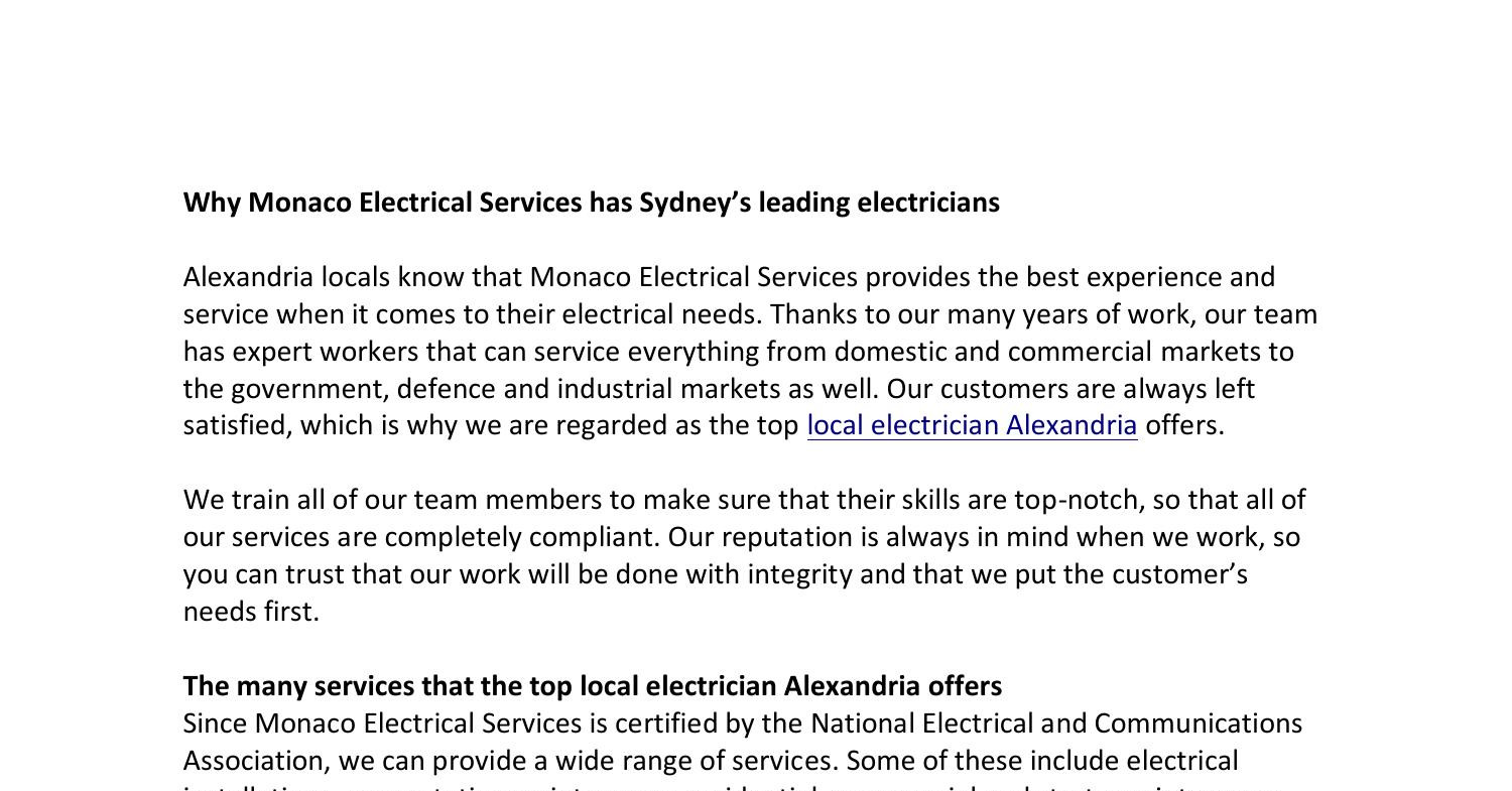 Why Monaco Electrical Services has Sydney's leading electricians