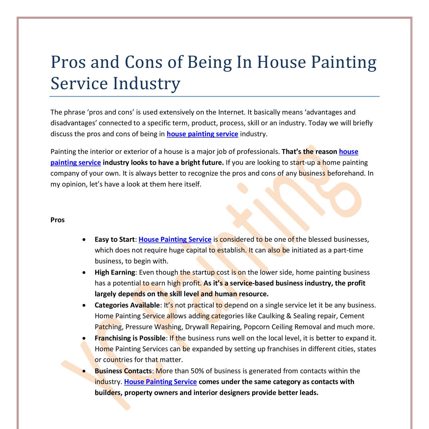 Pros And Cons Of Being In House Painting Service