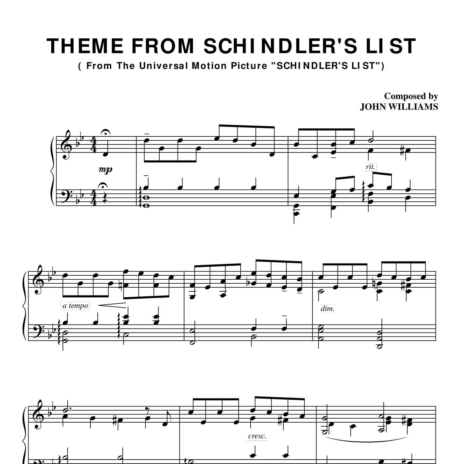 Schindlers List Theme - PIANO SHEET.pdf