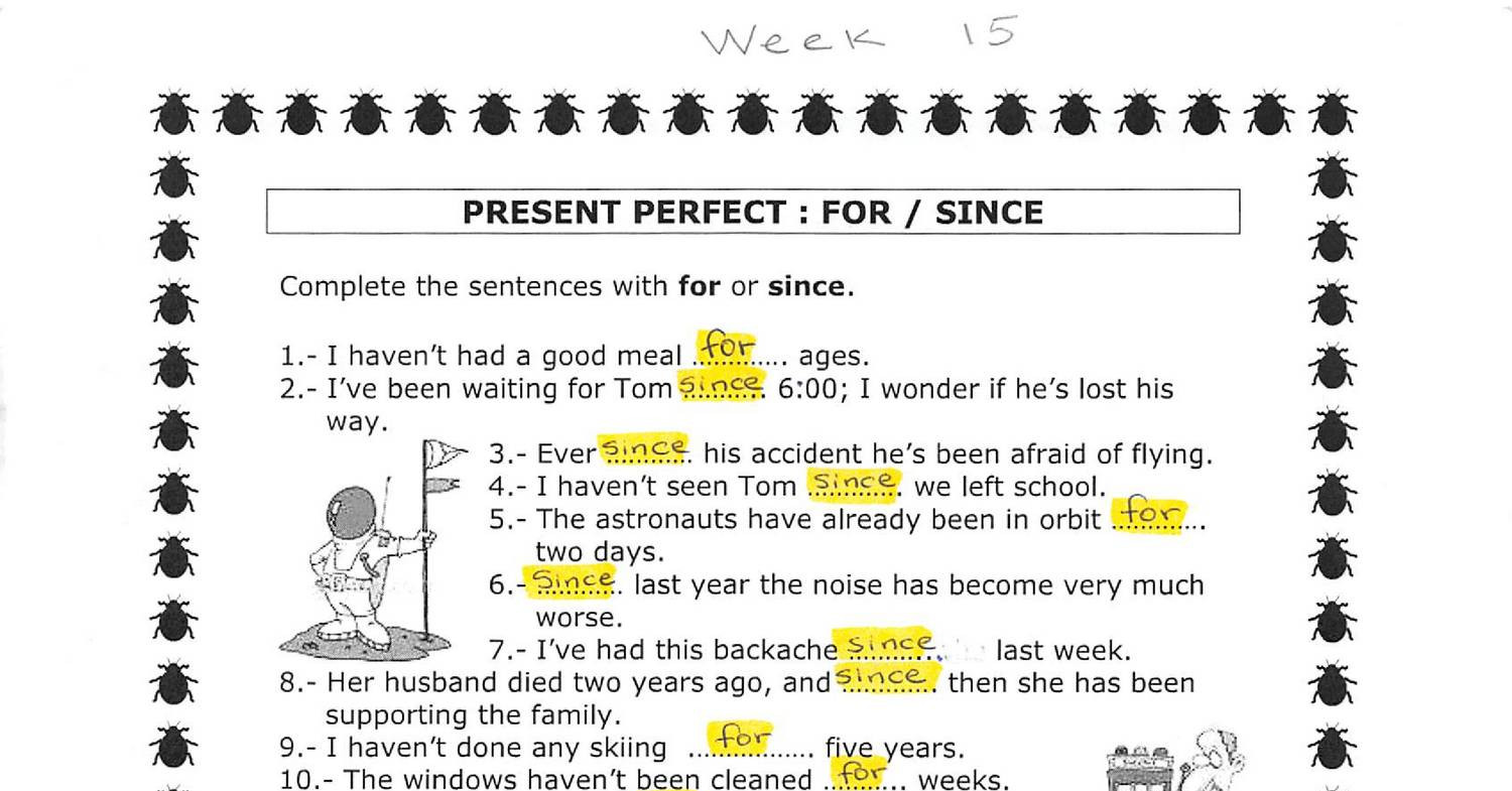 Week 15 Present Perfect with FOR and SINCE - Answer Key ...