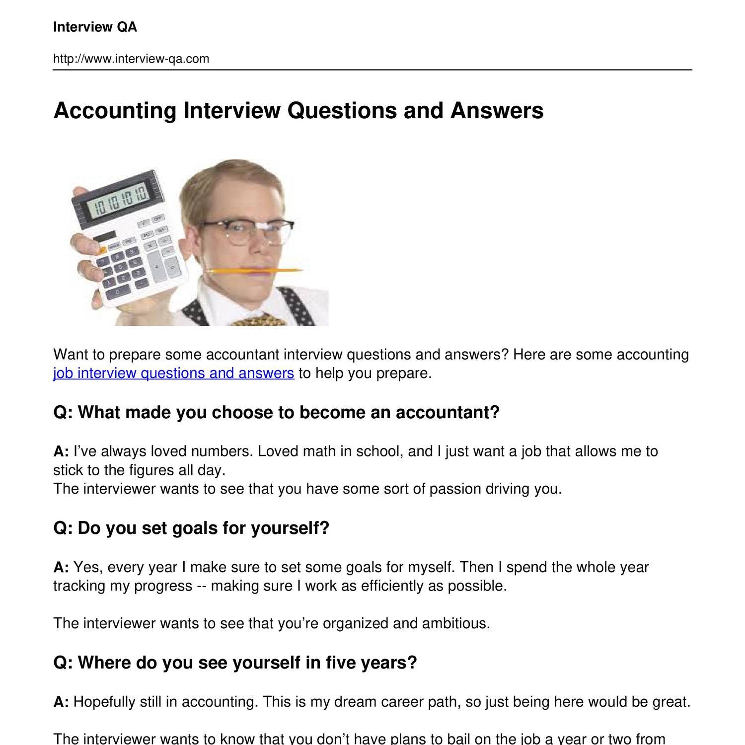 Accounting Interview Questions PDF - Geeks Talk