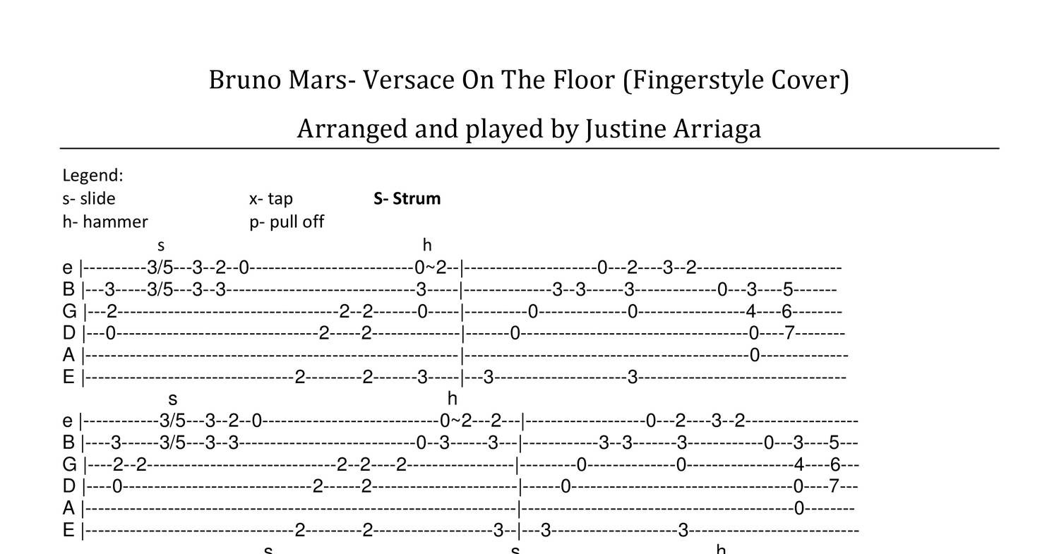 Versace On The Floor Fingerstyle Tabs