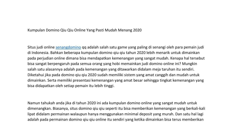 Kumpulan Domino Qiu Qiu Online Yang Pasti Mudah Menang Pdf Docdroid