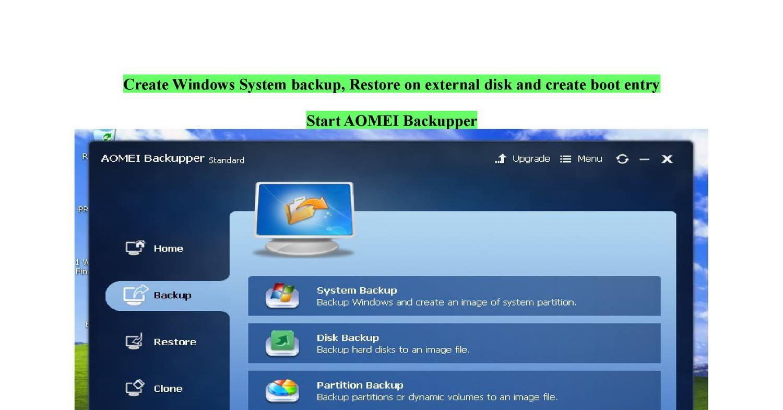 aomei backupper create bootable disk