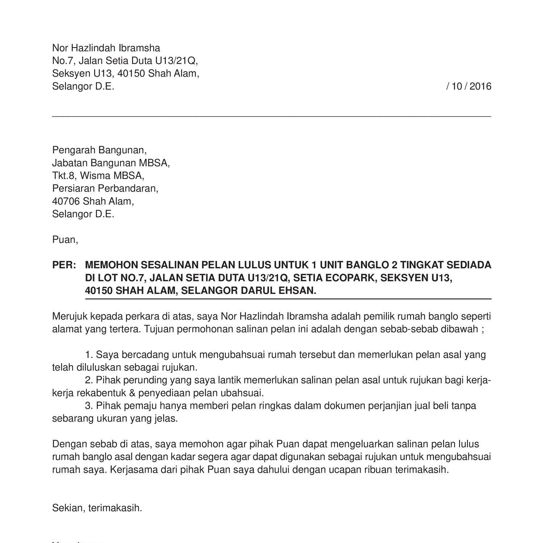 Surat Rasmi Rayuan Permohonan Rumah - Surat Rasmi Q