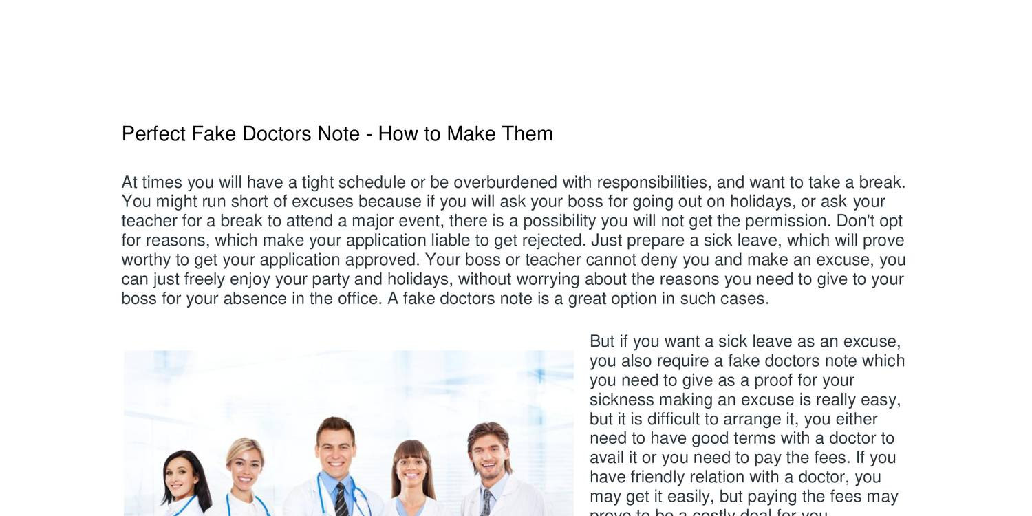 how to make a doctor note