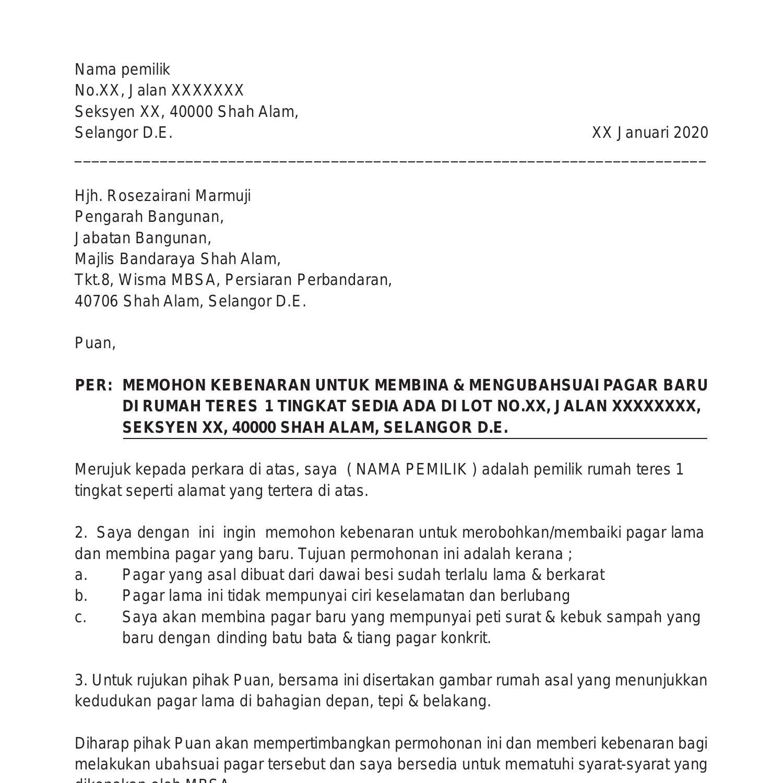 Contoh Surat Permohonan Bina Pagar Rumah Baru 2020 Pdf Docdroid