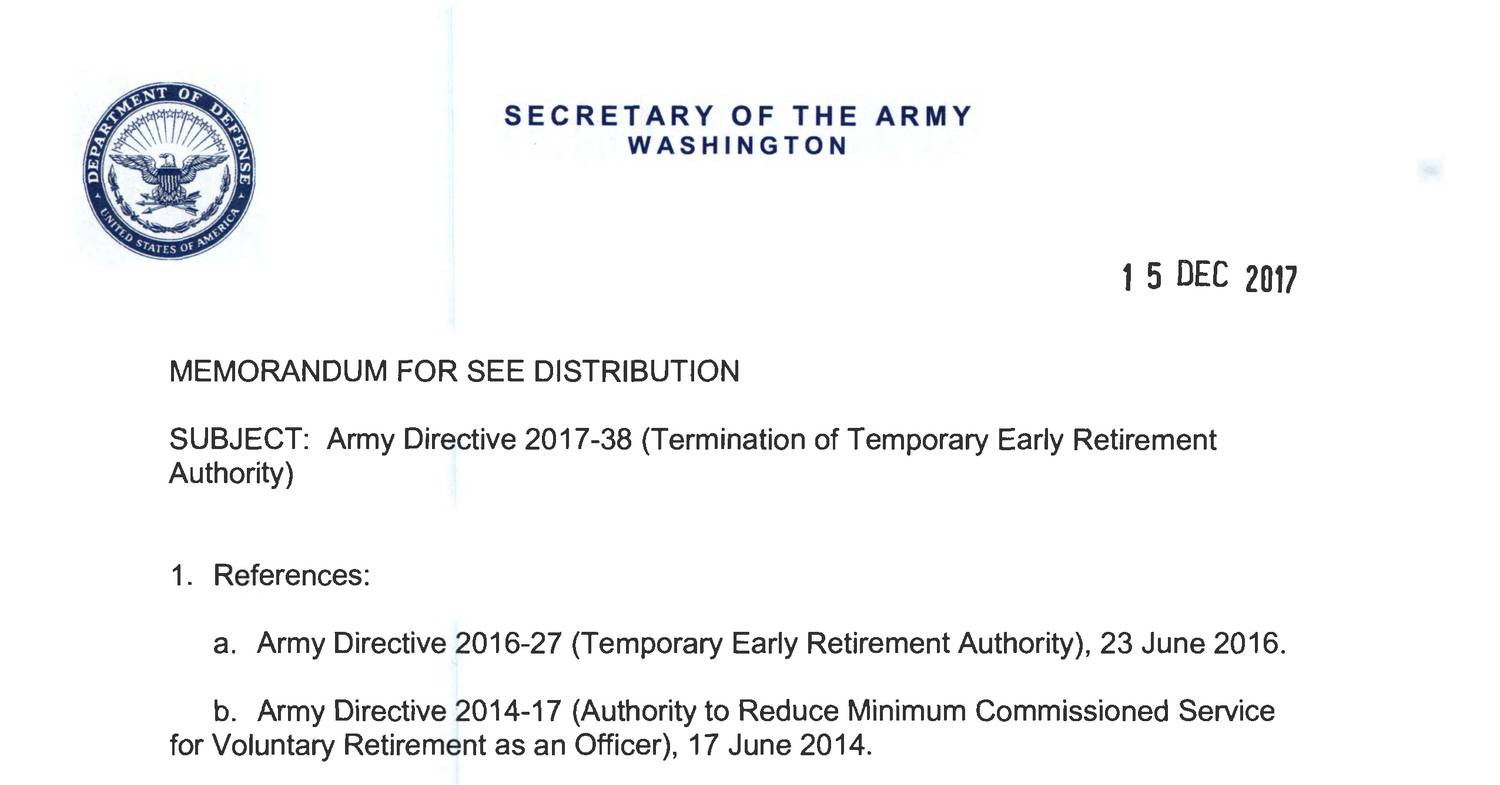 temporary early retirement authority Office symbol subject: request for voluntary retirement under the temporary early retirement authority (tera) 15 i have been advised not to make any firm or final commitments associated with.