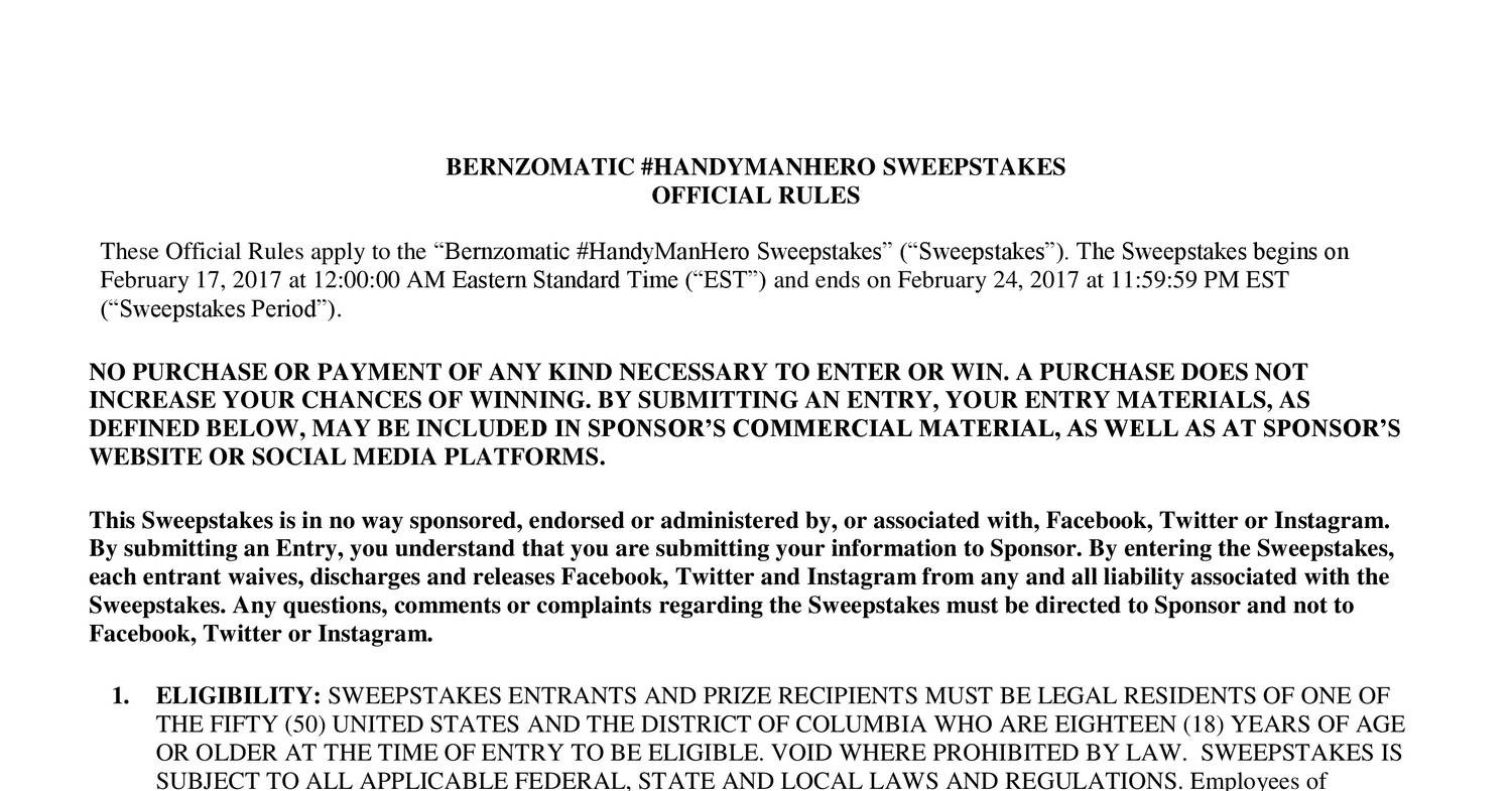 official rules sweepstakes bernzomatic handyman hero sweepstakes official rules docx 8302