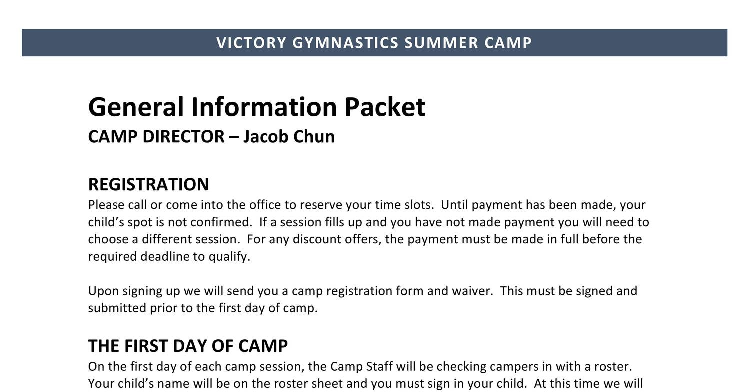 2018 Victory Summer Camp General Information Packetpdf Docdroid