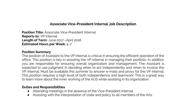 Vice President Job Description   Associate Vice President Internal Job Description Docx Docdroid