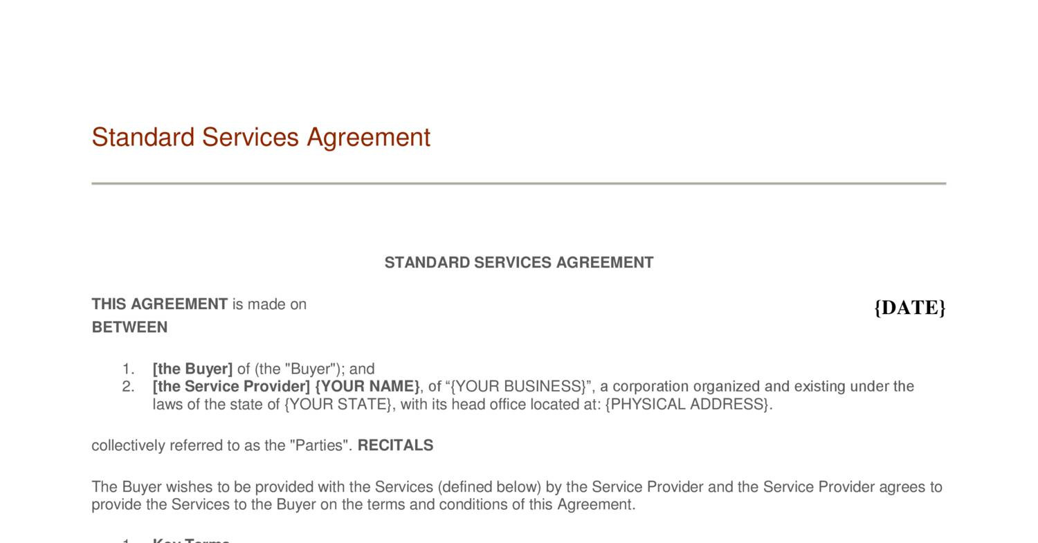 Sample Managed Service Agreement Template Genericized