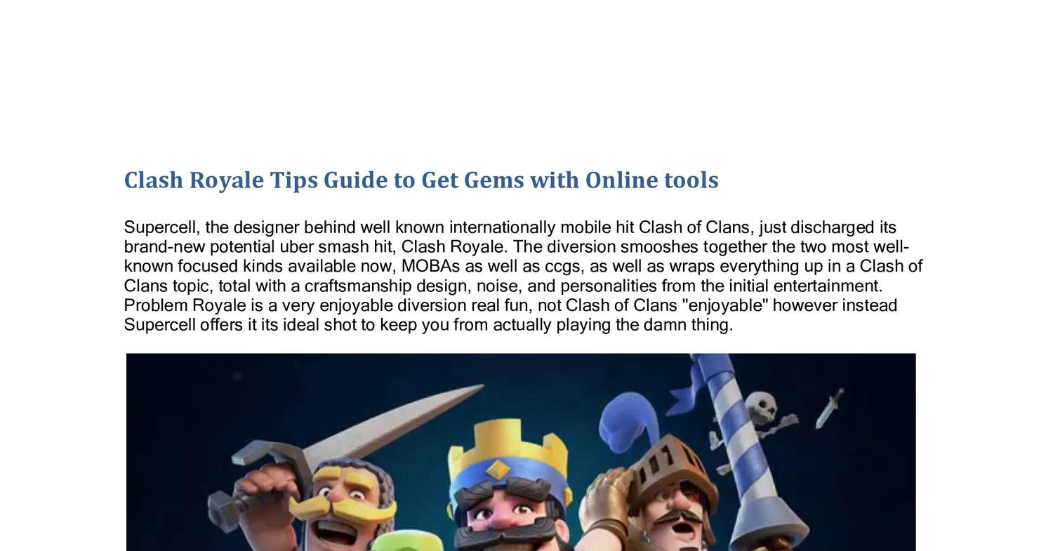 Clash Royale Tips Guide to Get Gems with Online tools pdf