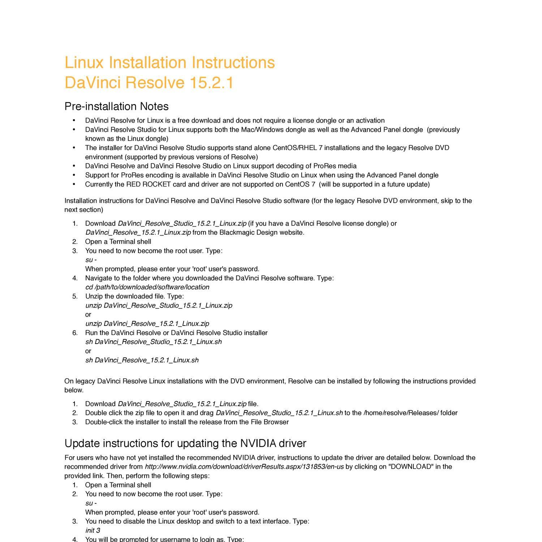 DaVinci Resolve 15 2 1 Linux_Installation_Instructions pdf | DocDroid