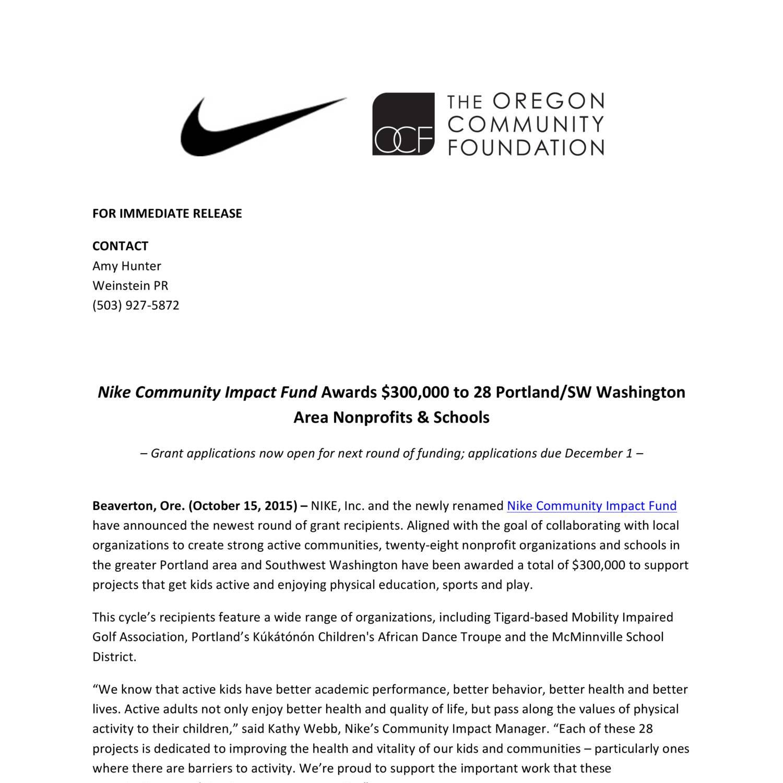 Cierto Disipación definido  Nike Community Impact Fund press release_ Fall15Funding_10-15-15.pdf |  DocDroid