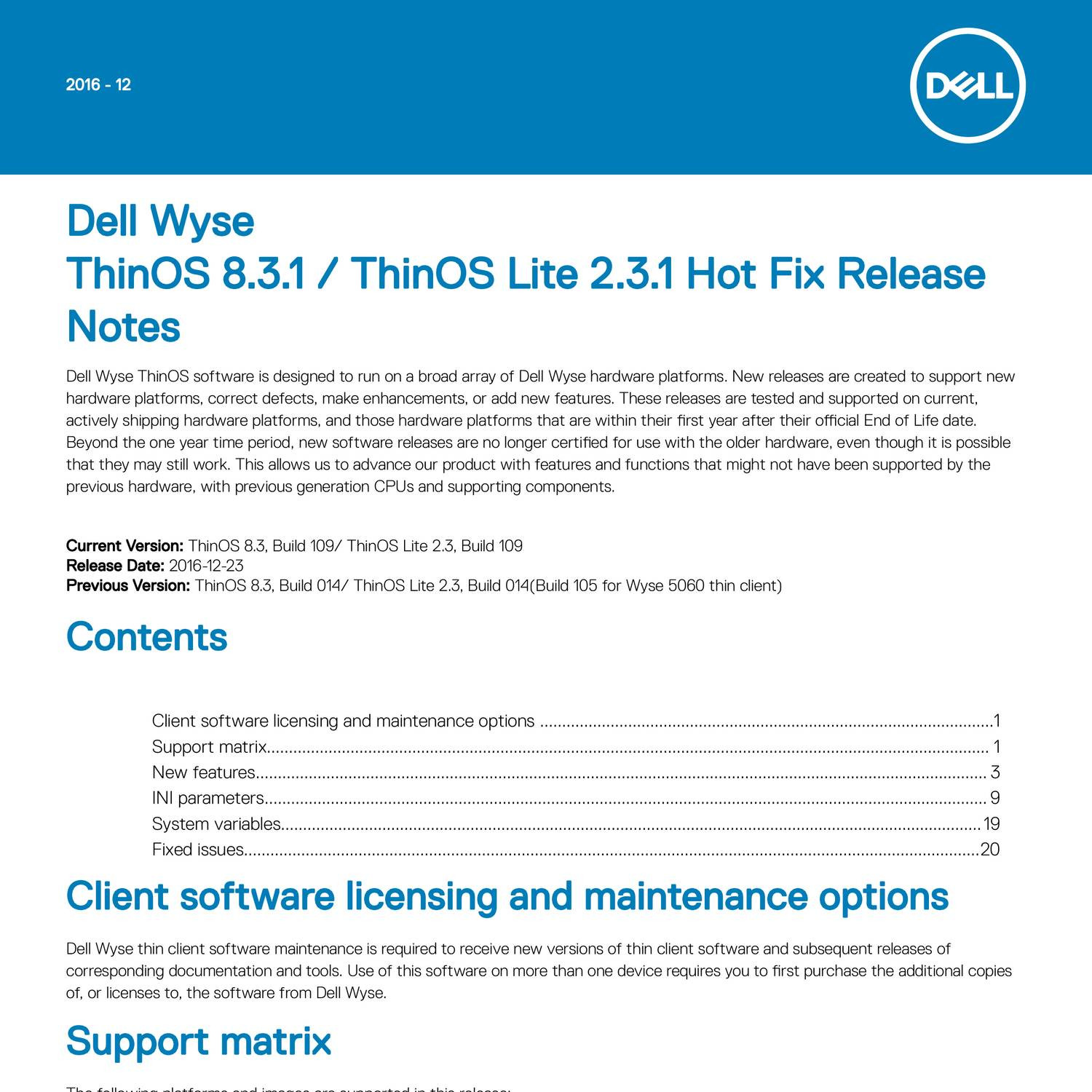 ThinOS 8 3 1 and ThinOS Lite 2 3 1 Hot Fix Release Notes pdf