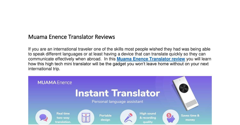 Muama Enence Translator Reviews docx | DocDroid