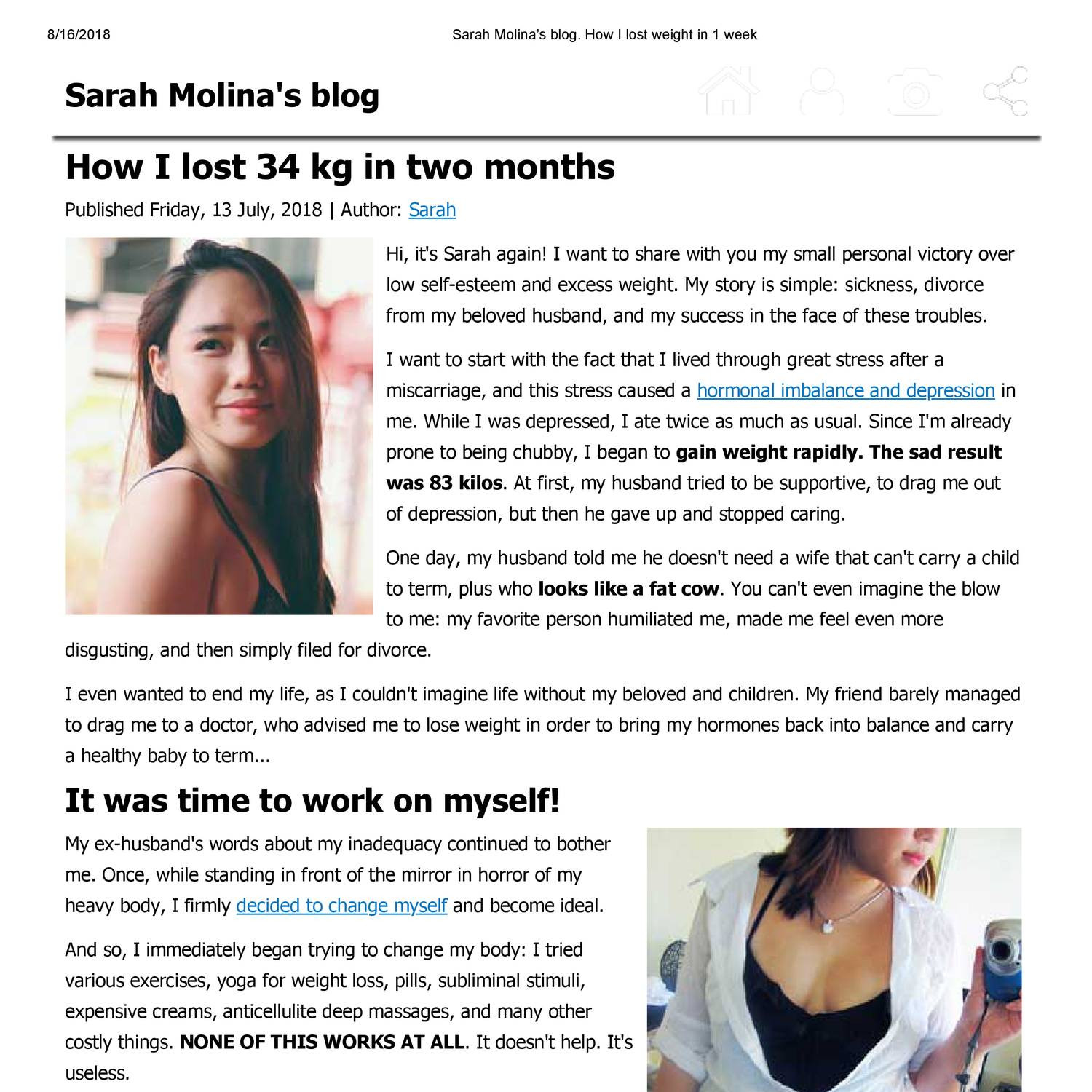 SCAM] Sarah Molina's blog  How I lost weight in 1 week pdf
