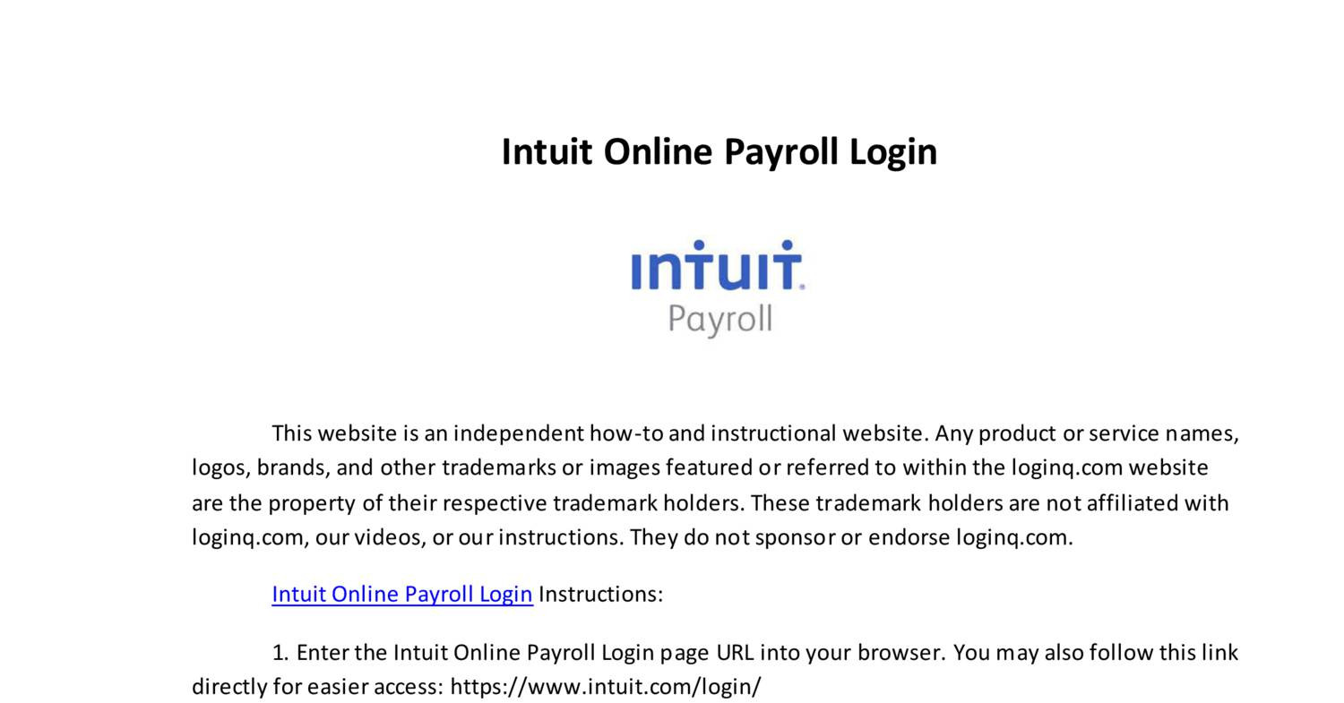 Intuit Online Payroll Login pdf | DocDroid