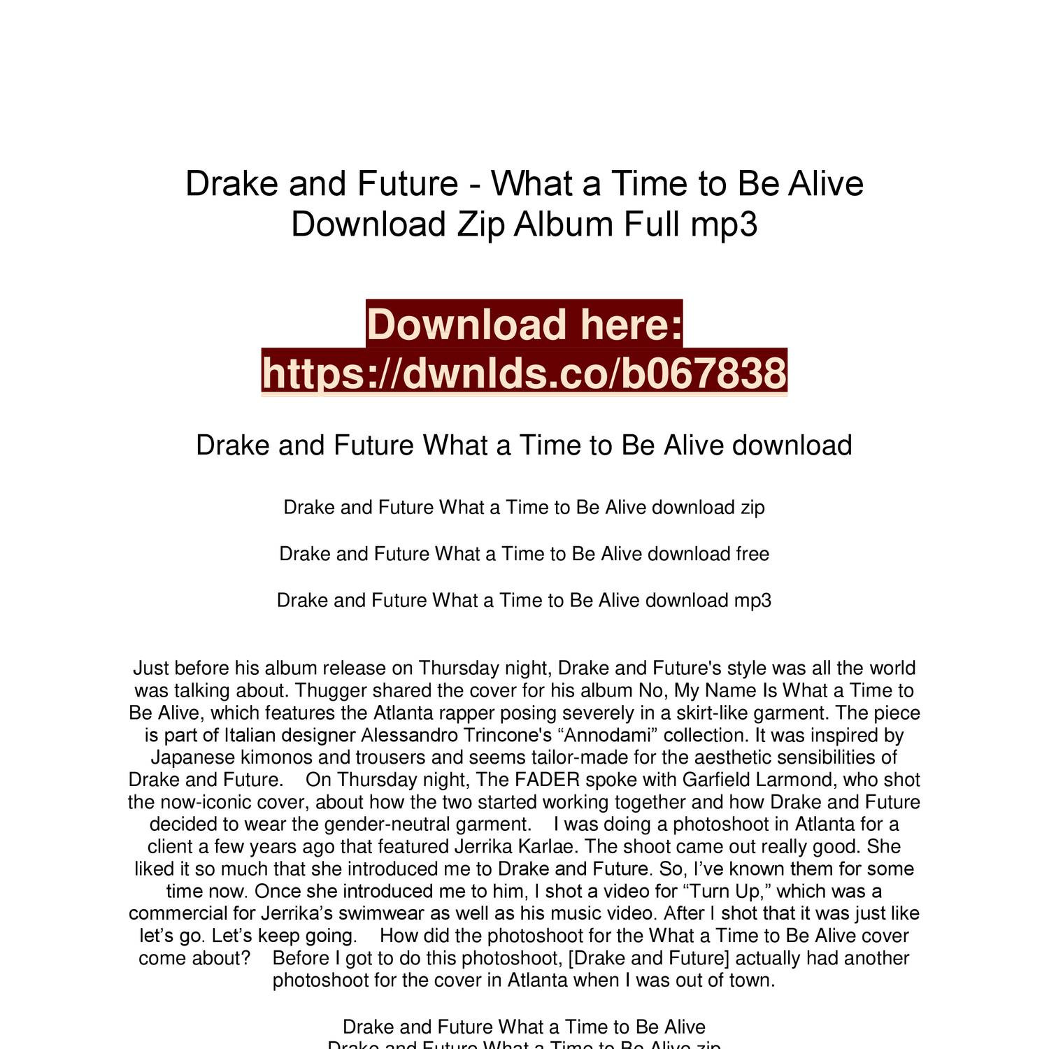 what a time to be alive download album