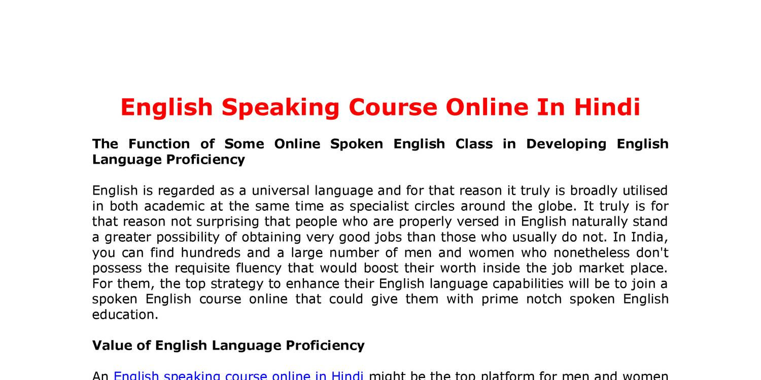 English Speaking Course Online In Hindi pdf | DocDroid