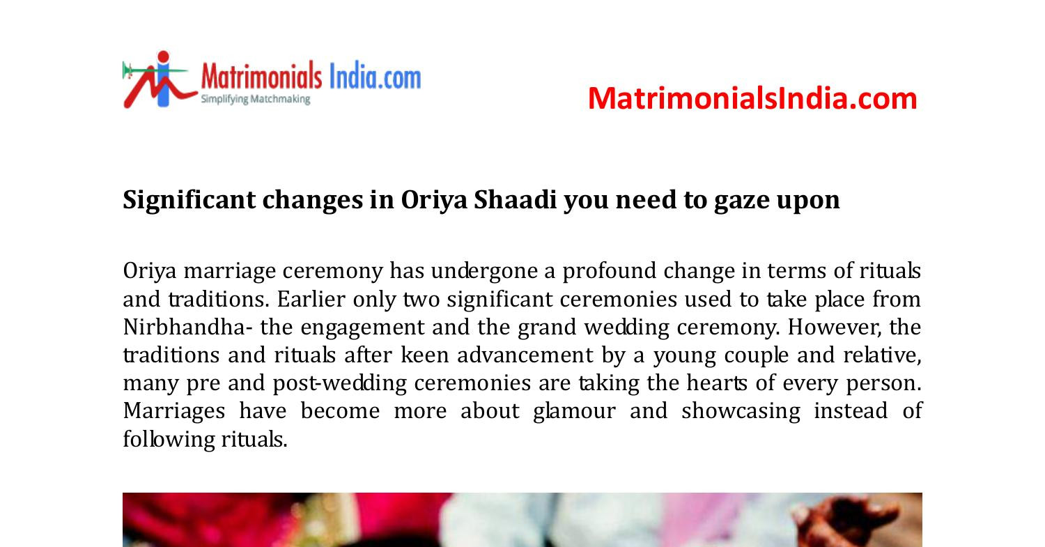 Significant changes in Oriya Shaadi you need to gaze upon