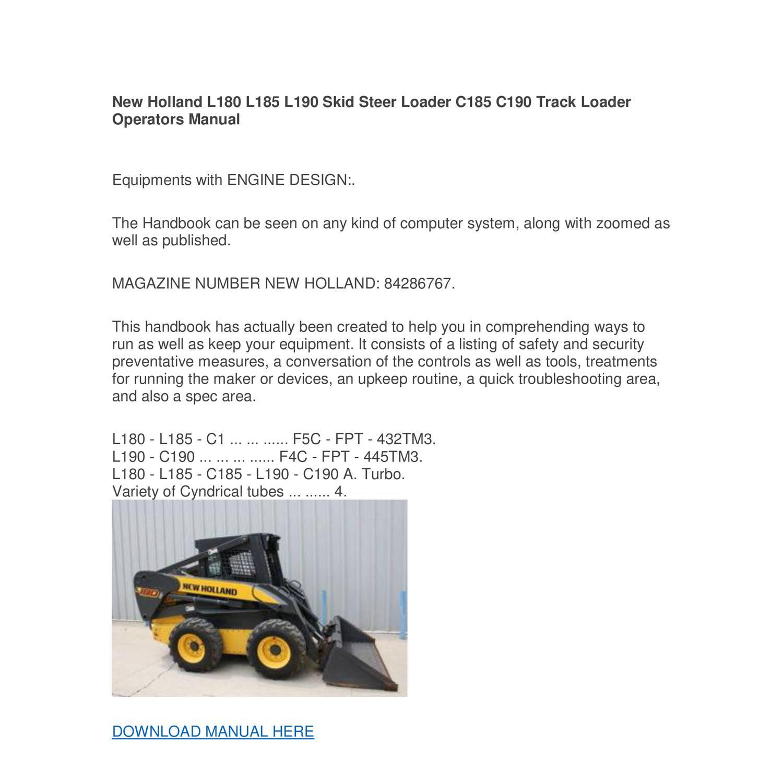 New Holland L180 L185 L190 Skid Steer Loader C185 C190 Track Loader  Operators Manual.pdf - DocDroid