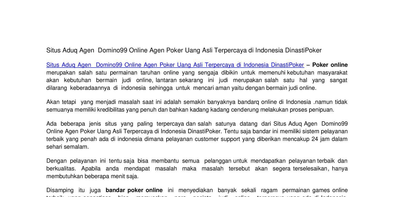 Situs Aduq Agen Domino99 Online Agen Poker Uang Asli Terpercaya Di Indonesia Dinastipoker Docx Docdroid