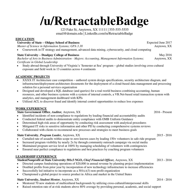 Accounting Internship Resume Reddit