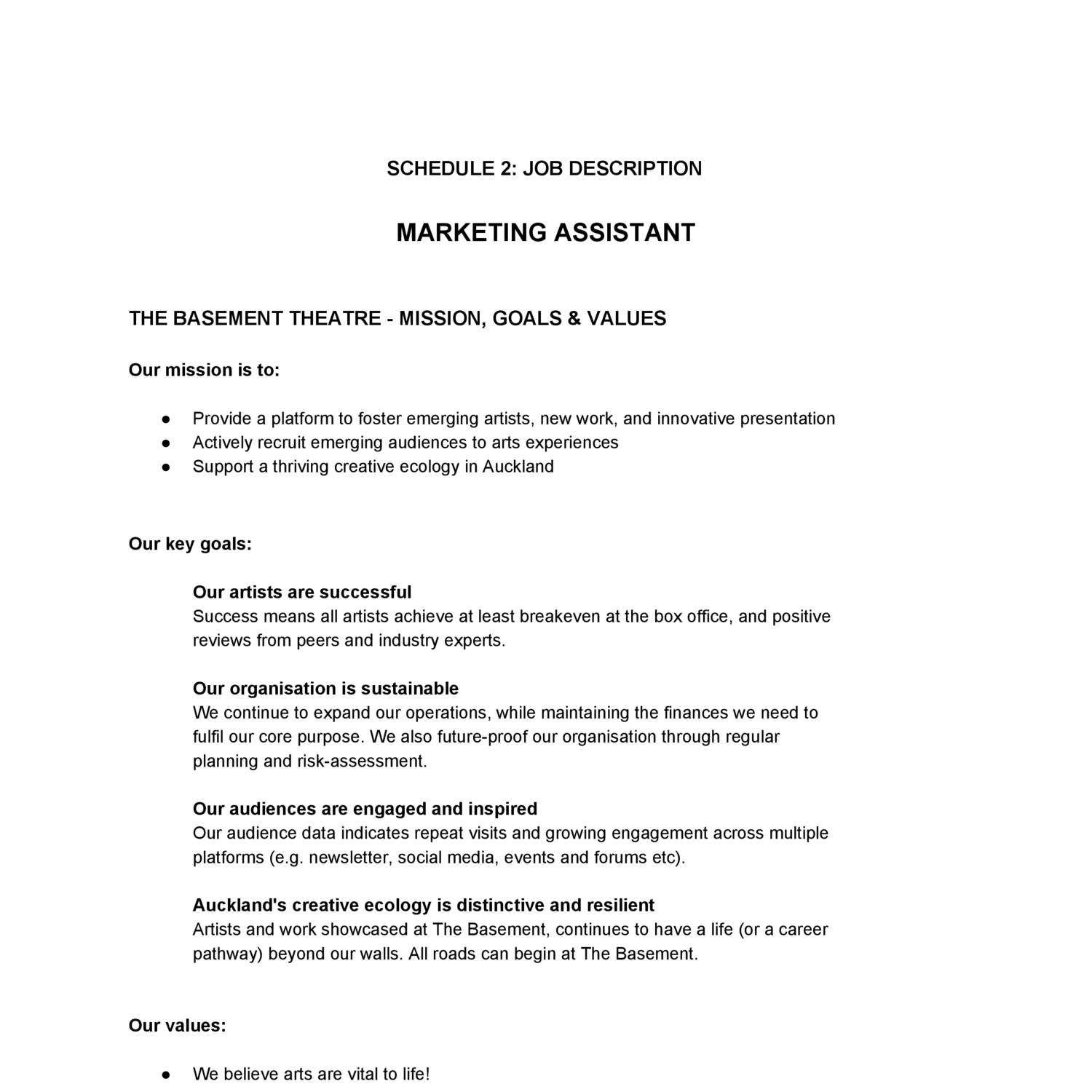 job description marketing assistant