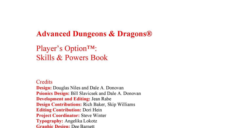 Player's Option - Skills & Powers rtf | DocDroid