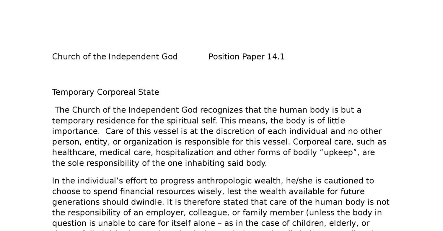 Church of the Independent God Position Paper 14 1 Temp Corp