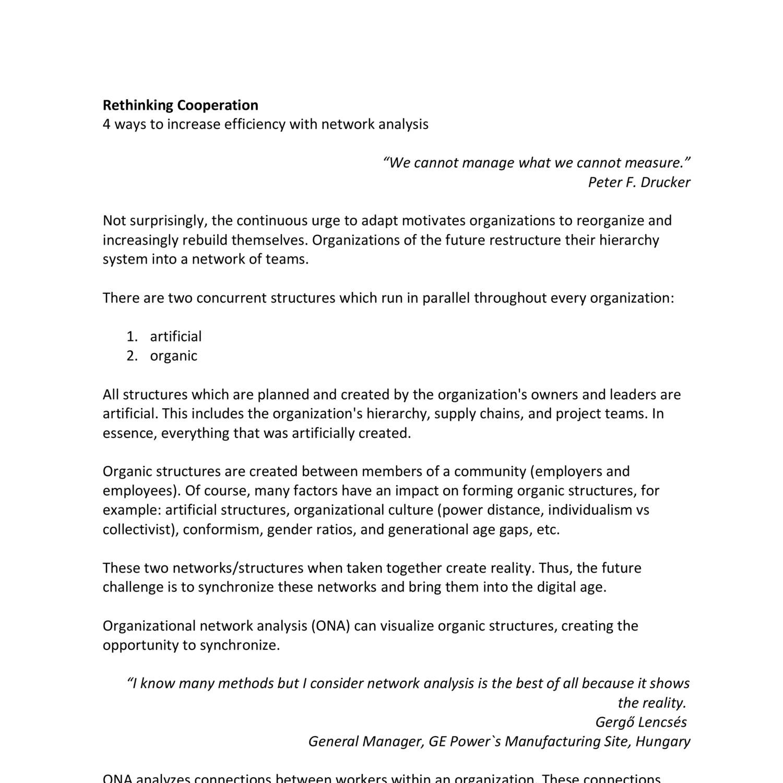 Organisational Network Analysis Efficiency pdf | DocDroid