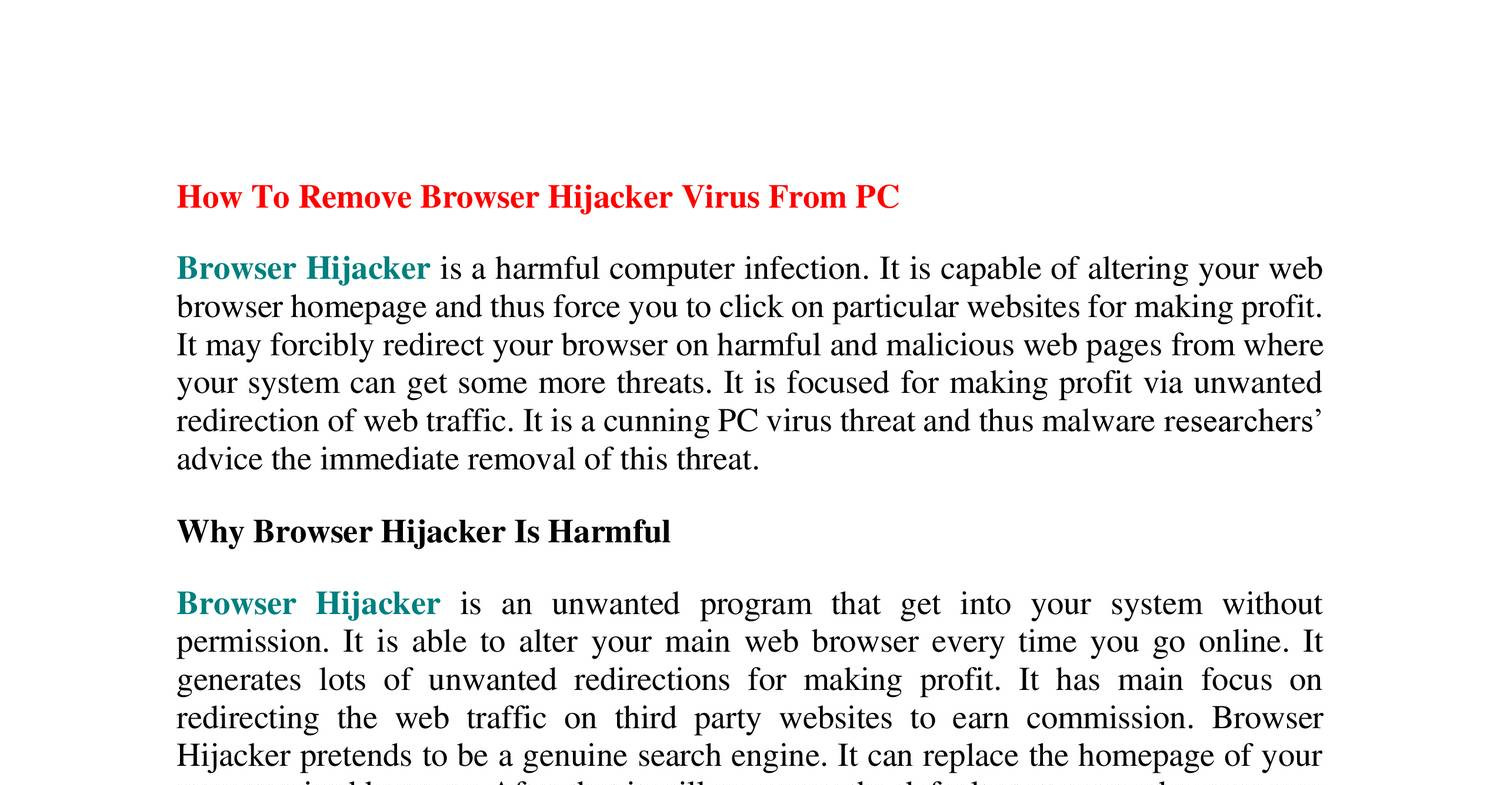 How To Remove Browser Hijacker Virus From PC.pdf | DocDroid