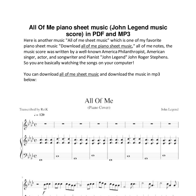 All Of Me Piano Sheet Music John Legend Music Score In Pdf