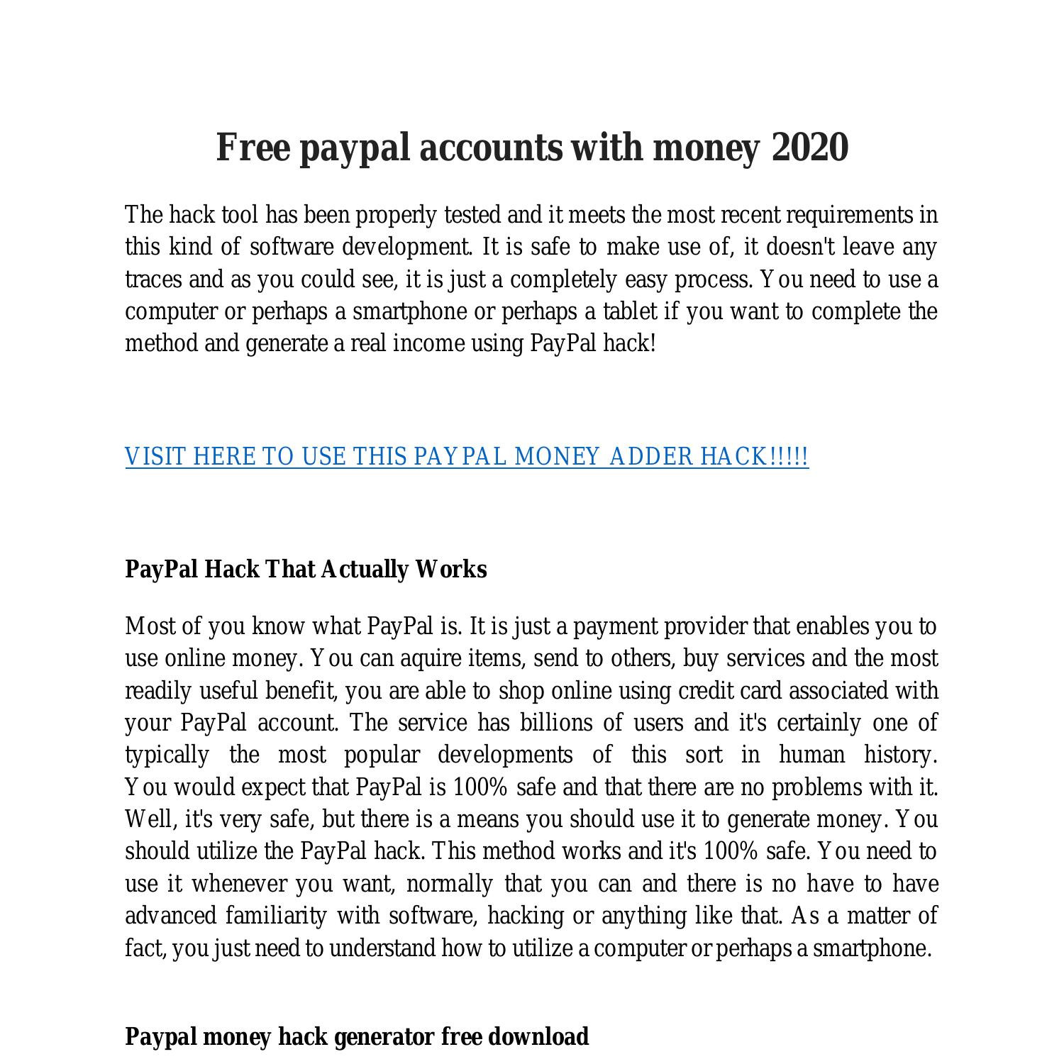 Free paypal account Get Free