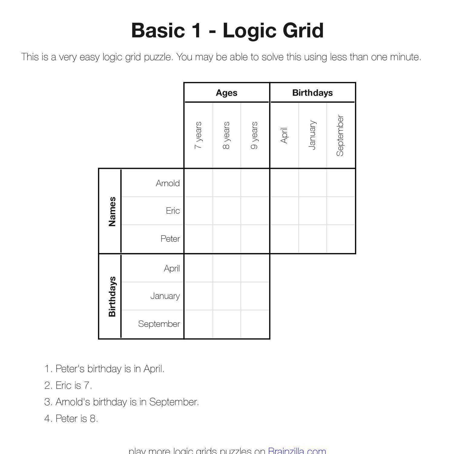 picture about Printable Grid Logic Puzzle called Printable Logic Grid Puzzles (Brainzilla).pdf DocDroid